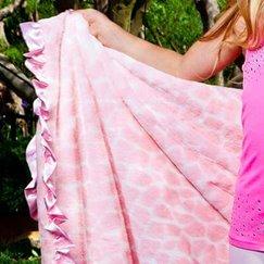 Max Daniel動物紋寶寶毯粉紅長頸鹿寶寶毯子示意圖